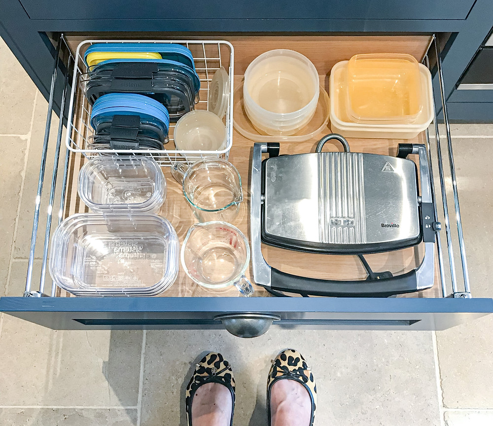 Organised kitchen drawers with Sistema Brilliance food storage containers