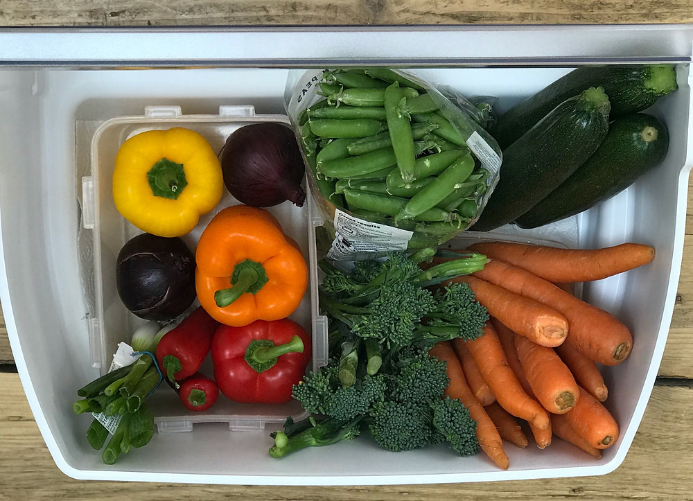 Marie Kondo Your Vegetables - Vegetables stored upright in fridge KonMari Vegetables