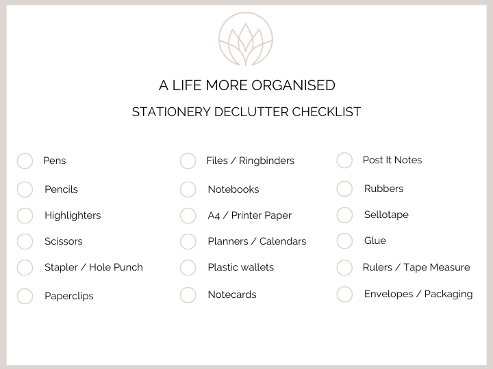 Stationery KonMari Checklist from A Life More Organised