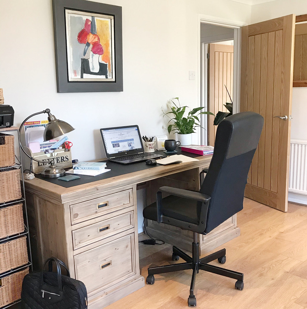 Working from home at a Barker & Stonehouse desk