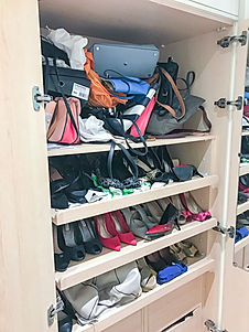 Cluttered shoe and bag collection