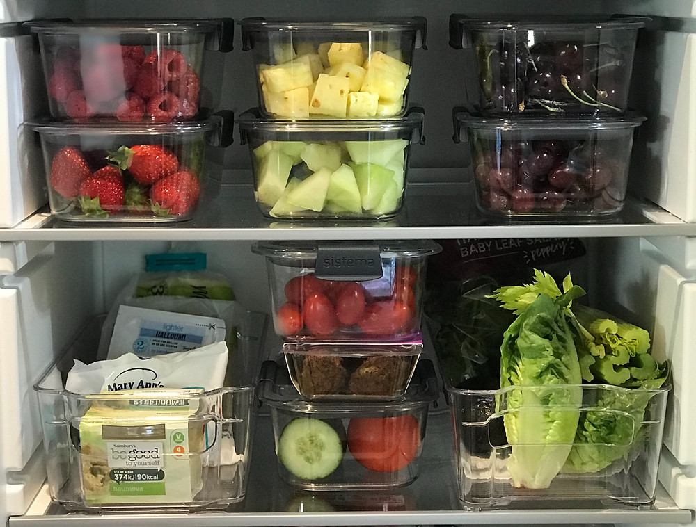 KonMari organised fridge with Sistema Brilliance food containers
