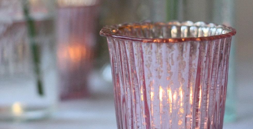 Blush Pink Mercury Glass Votive Holder