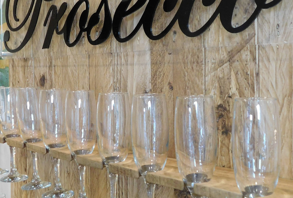 Handmade Light Oak Rustic Prosecco Wall -With Glasses