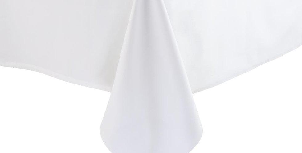 "70"" x 108"" White Rectangular Table Cloth"