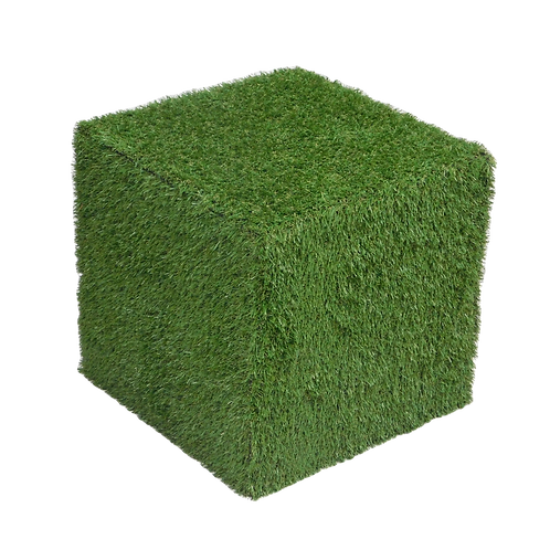 Artificial Grass Covered Cube Seat