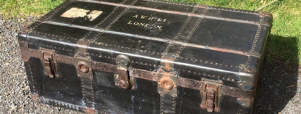 Vintage Black Steamer Trunk