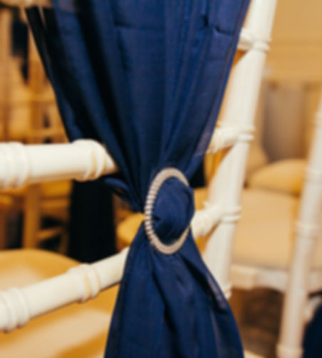 Navy Chiffon Chair Drape
