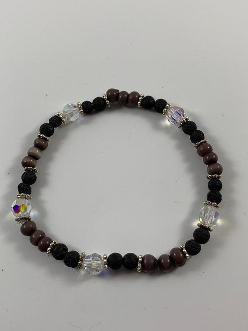 Lava stone, Swarovski crystal, purple stone bracelet