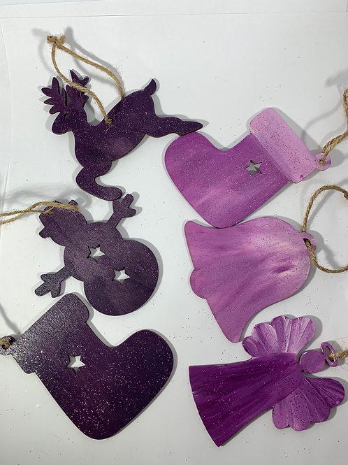 Set of 6 Handpainted purple themed ornaments