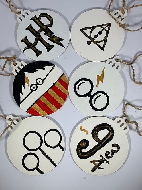 Set of 6 Hand painted Harry Potter themed ornament pack