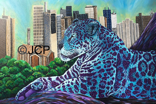 "Leopard overlooks the destruction of his habitat, 11""x14"" print"