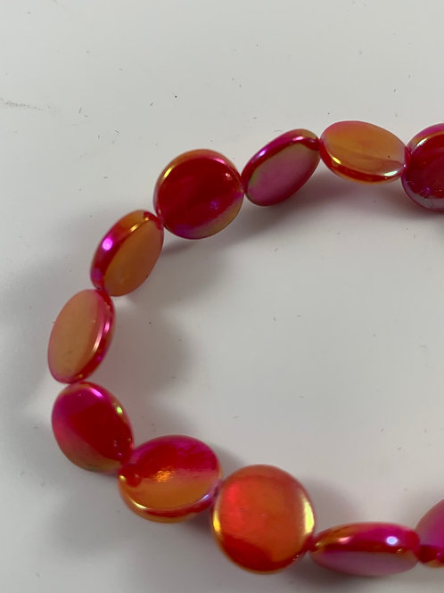 Red iridescent mother of pearl stretch bracelet
