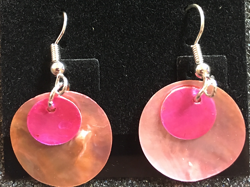 Double capiz shell earrings (lt pink and magenta)