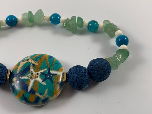 Nautical inspired lava and adventuring stretch bracelet