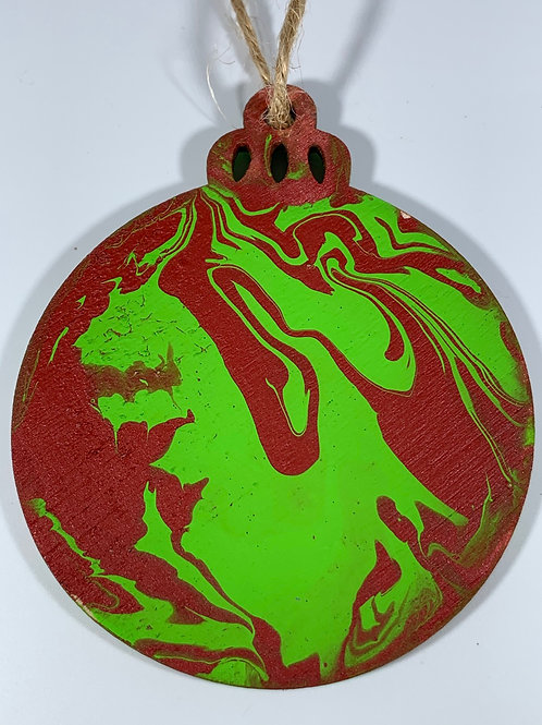 Marbelized red and green ornament