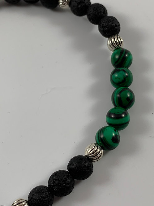 Malachite and lava stone stretch bracelet