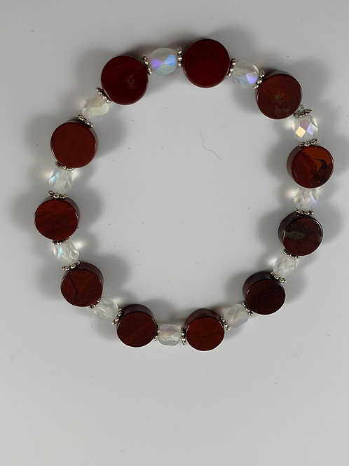 Carnelian and matte opal stretchy bracelet