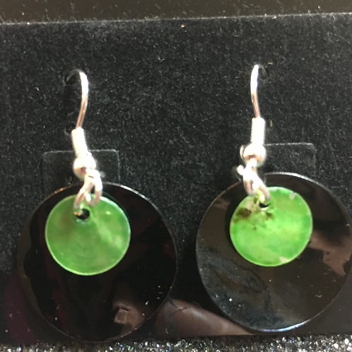 Double capiz shell earrings (black and lime green)