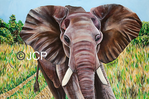 Elephant in the Grass, original painting