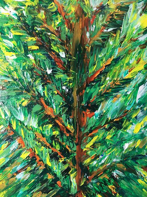 Palette knife pine tree