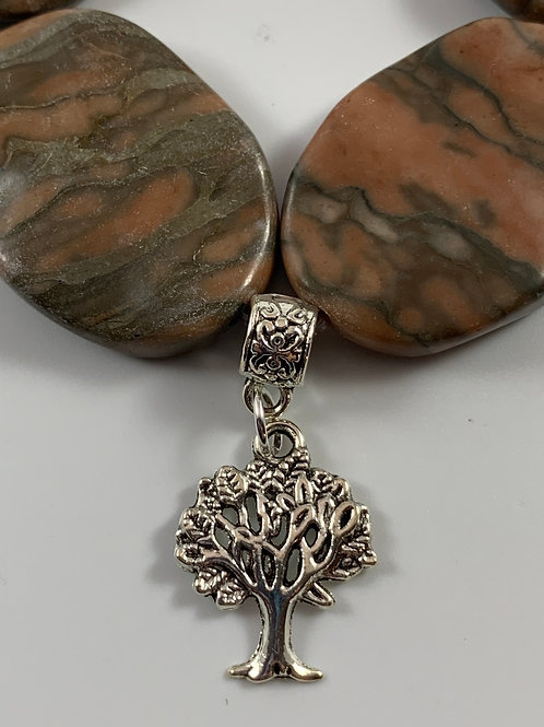 Chunky Marbled Gemstone stretchy bracelet with tree of life
