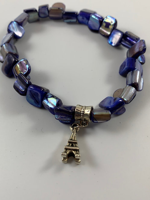 Royal blue chunky mother of pearl stretchy bracelet with Eiffel Tower charm