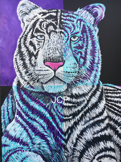 White Tiger Dressed in Purple, Ponders his Existence