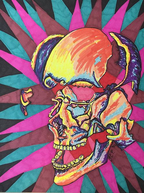 Migraine fracturing skull (original drawing)