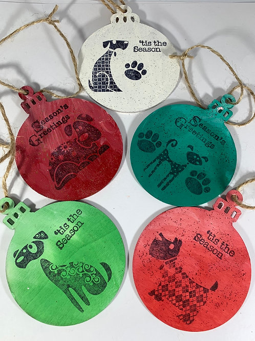 Set of 5 Dog Themed holiday ornaments