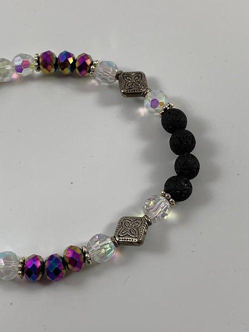 Lava bead diffuser and Swarovski crystal stretch bracelet