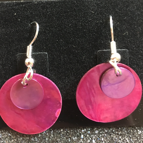Double capiz shell earrings (magenta and purple)