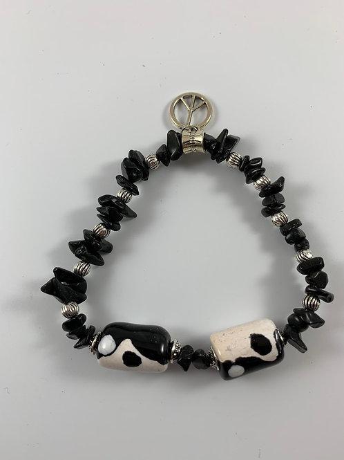 Handcrafted ying yang vintage Kenyan beads with tourmaline bracelet
