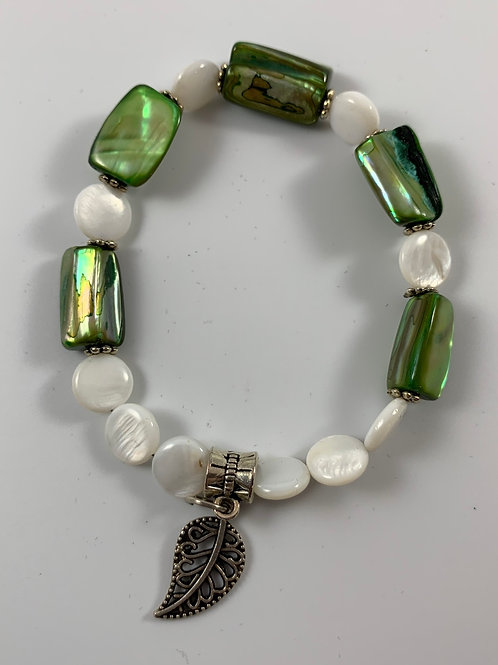 Handmade green and iridescent white mother of pearl stretchy bracelet