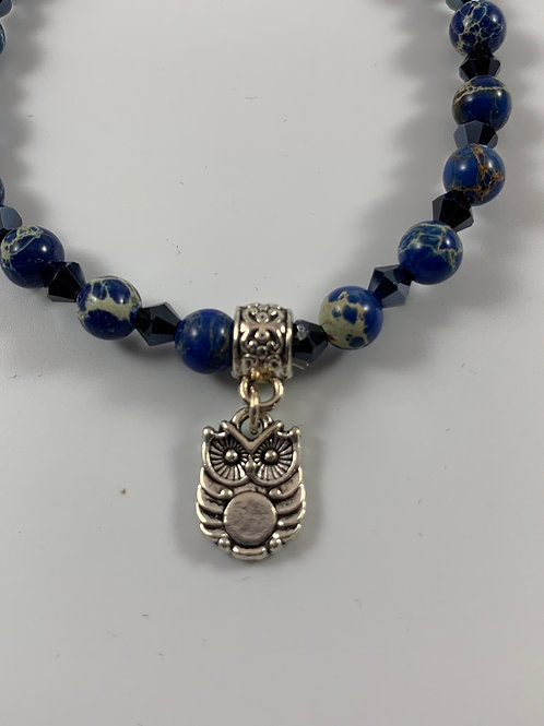Blue marbled agate stretchy bracelet with owl charm