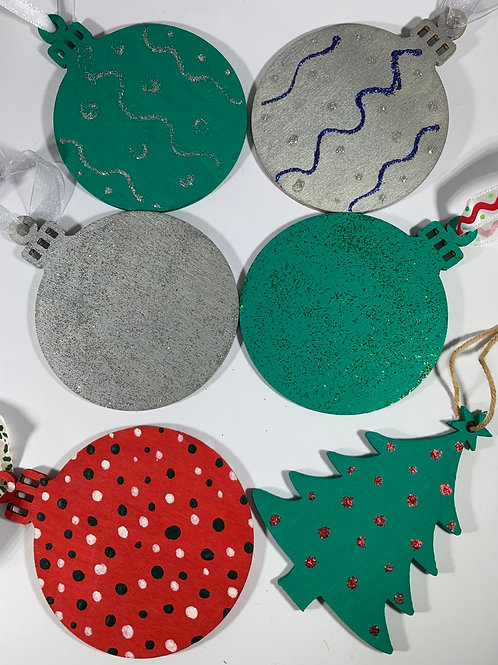 Set of 6 hand painted ornaments or tags assorted