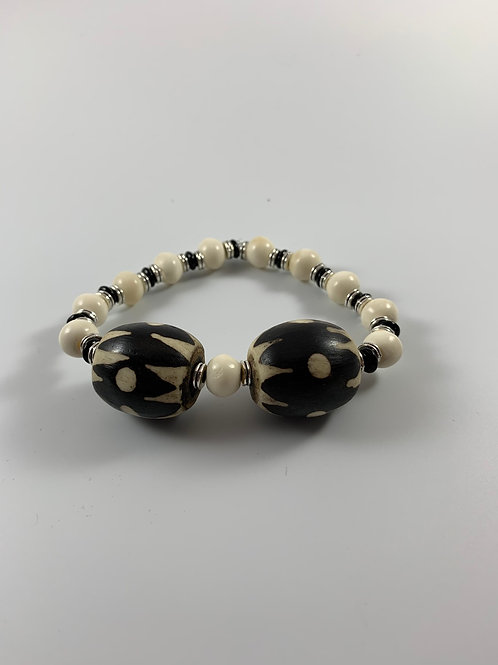 Vintage Kenyan batik and mala prayer bead stretchy bracelet