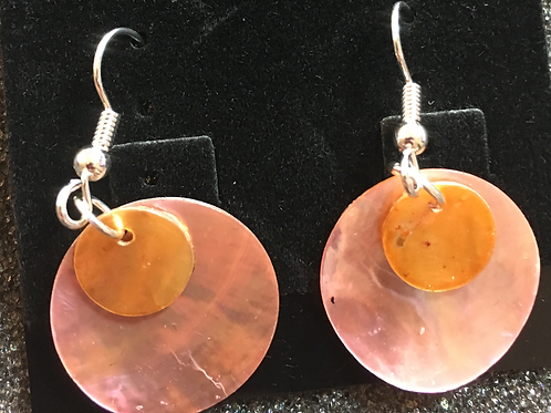 Double capiz shell earrings (light pink and gold)
