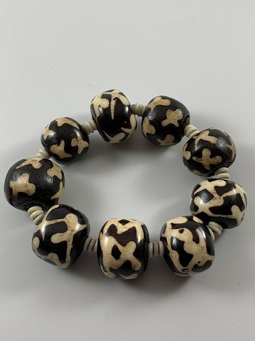 Vintage Kenyan Batik Bone bead stretchy bracelet