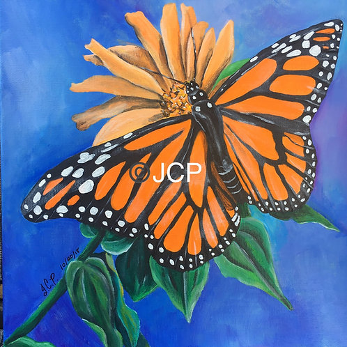 Monarch Butterfly on a Black Eyed Susan - Original Painting