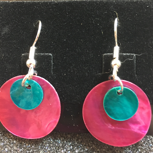 Double capiz shell earrings (magenta and turqu