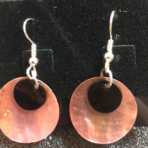 Double capiz shell earrings (pink and black)