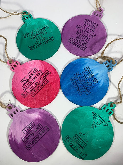 Set of 6 humorous hand painted ornaments