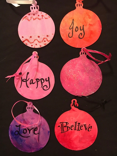 Set of six Hand painted ornaments/tags