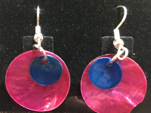 Double capiz shell earrings (magneta and dark blue