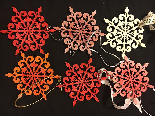 Set of 6 assorted star ornaments