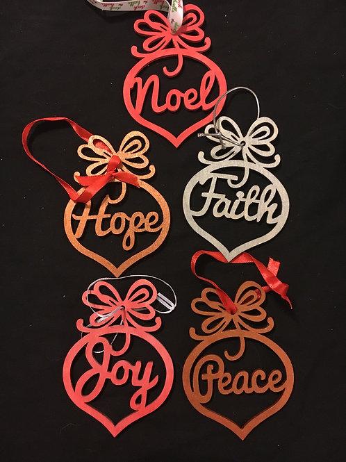 Set of five hand painted joyful ornaments/tags