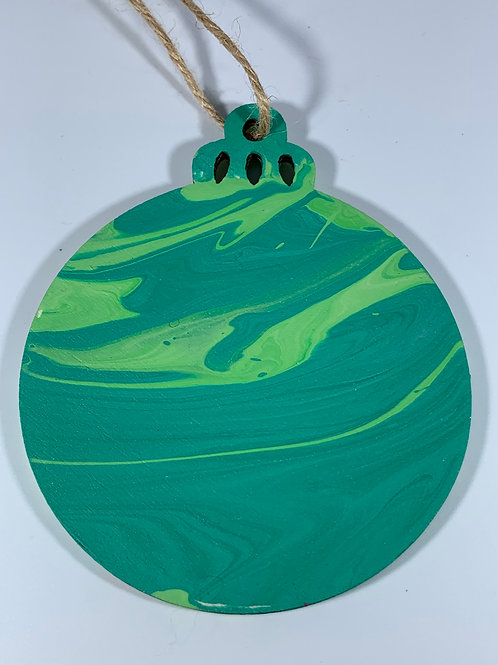 Marbelized green ornament