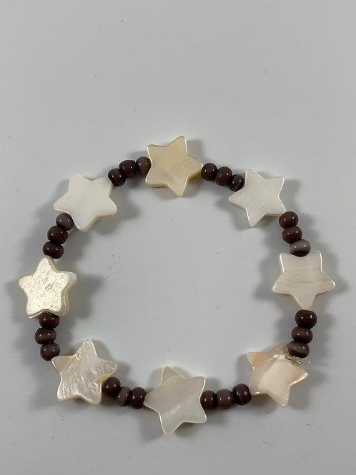 Handmade star shell and purple stretchy bracelet