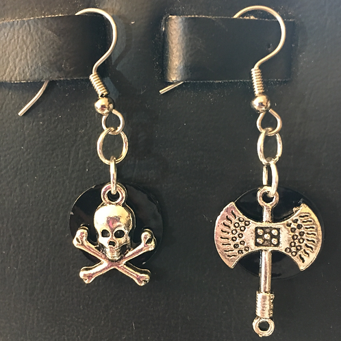 Punk/Goth themed earrings